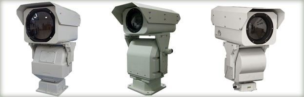 Infrared PTZ Thermal Imaging Camera , Uncooled Waterproof Long Distance CCTV Camera
